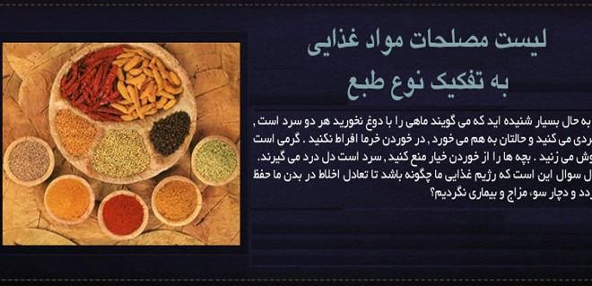 لیست مصلحات مواد غذایی به تفکیک نوع طبع