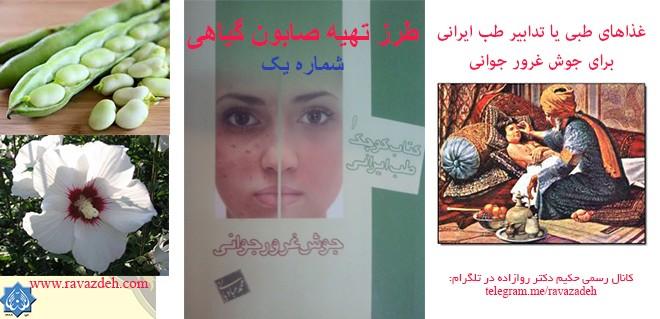 غذاهای طبی یا تدابیر طب ایرانی برای جوش غرور جوانی: صابون گیاهی ۱