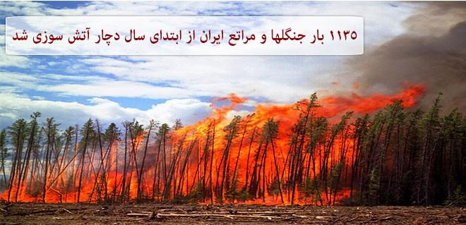 ۱۱۳۵ بار جنگلها و مراتع ایران از ابتدای سال دچار آتش سوزی شد