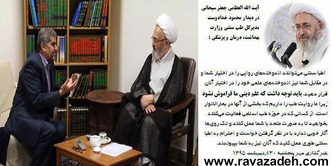 آیت الله سبحانی در دیدار مدیر کل دفتر طب سنتی وزارت بهداشت