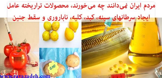 مردم ایران نمیدانند چه میخورند/ محصولات تراریخته عامل ایجاد سرطانهای سینه، کبد، کلیه، ناباروری و سقط جنین