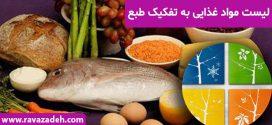 لیست مواد غذایی به تفکیک طبع