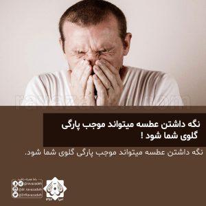 نگه داشتن عطسه میتواند موجب پارگی گلوی شما شود !