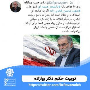 تصویر از توییت حکیم دکتر روازاده: ترور ناجوانمردانه دانشمند هسته ای شهید محسن فخری زاده